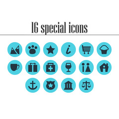 Vector illustration of 16 map icons. Editable set of gift, house, zoo and other icon elements.