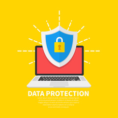 Wall Mural - Data Protection flat illustration concept. Laptop with shield and lock. Flat cartoon design, vector illustration on background.