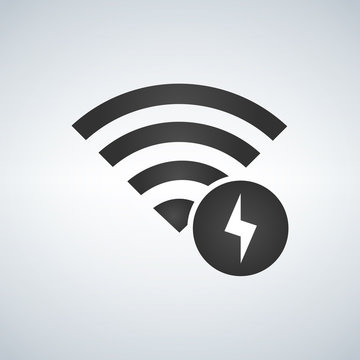 Wifi connection signal icon with lightning icon in the circle. vector illustration isolated on modern background.