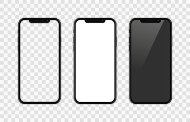 Realistic smartphone. Set realistic smartphone. Phone black. Flat cartoon design, vector illustration on background. Fototapete