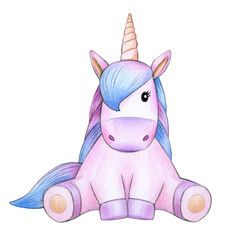 Cute sitting unicorn cartoon, isolated on white.