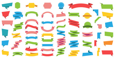 Wall Mural - Flat vector ribbons banners flat isolated on white background, Illustration Set.