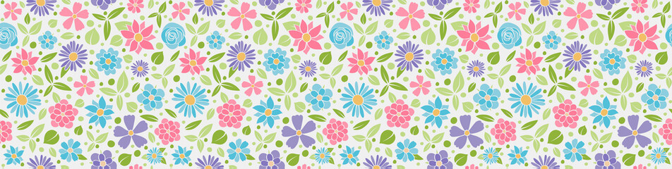 Panoramic banner with beautiful flowers - seamless texture. Vector.