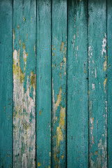 Old vintage worn boards dyed several times with blue paint