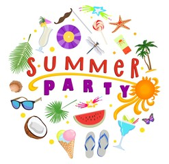 Poster on topic of summer party. Summer rest. Vector illustration.