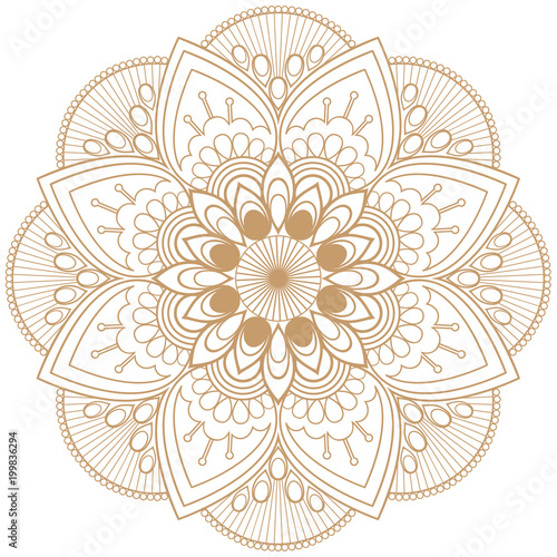 2d58855ab00a8 Mehndi mandala beige brown flower in Indian henna style for tatoo or card.
