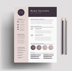 Beautiful CV / Resume template - elegant stylish design - dusty pink color background vector