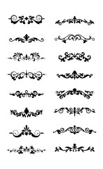Floral decorative design element collection vintage style traced by hand from own sketch. Dividers set.