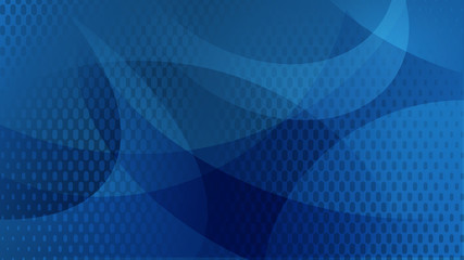 Abstract background of curved lines, curves and halftone dots in blue colors