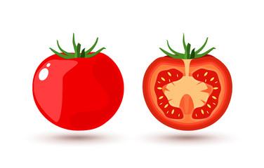 Tomato slice isolated on white flat design. Tomato organic food vector illustration of healthy vegetable