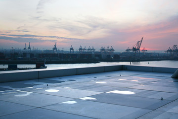 View of Hamburg harbor from the rooftop of the dockland building