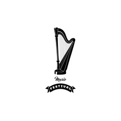 Harp icon. Music festival logo. Musical instrument. Music shop store. Vector.