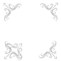 Decorative corners. Swirly filigree borders set. Ornate flourish corners. Vector.