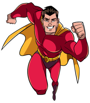 Full length front view of a powerful and muscular superhero running fast during courageous mission isolated on white background for copy space