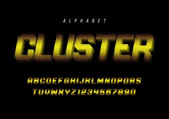 Cluster stylized display font design, alphabet, typeface, letter