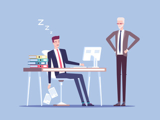 Angry boss and male office worker falling asleep at work in office vector flat illustration. Tired businessman or employee sleeping behind his desk while angry chief is standing near