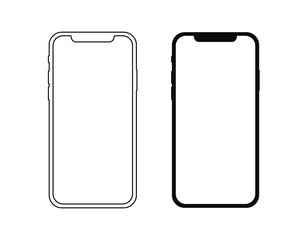 Realistic smartphone. Set realistic smartphone. Phone black. Flat cartoon design, vector illustration on background.