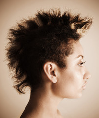 Woman with a mohawk