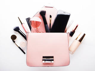 Fashion lady accessories set. Flat lay. Stylish handbag. Make-Up brushes.Women accessories. Trendy fashion design.