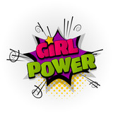 girl power star hand drawn pictures effects template comics speech
