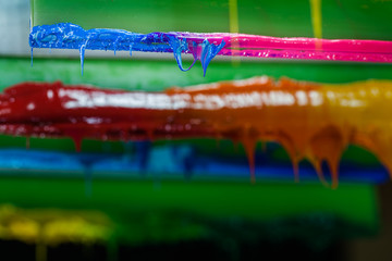 colorful of plastisol ink stick on printer handle start flowing down