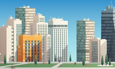 città con grattacieli e parco