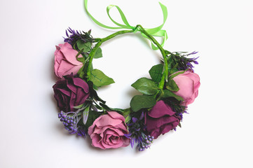 wedding wreath from artificial flowers tender handmade