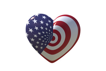 Heart with USA flag on white isolate