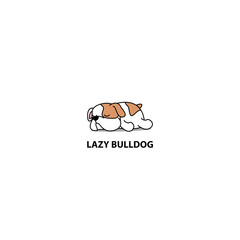 Lazy dog, cute bulldog puppy sleeping icon, logo design, vector illustration