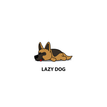 Lazy dog, cute german shepherd sleeping icon, logo design, vector illustration