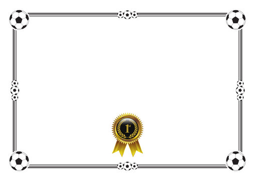Football championship competition certificate blank with gold badge