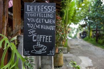 Depresso coffee sign in Ubud, Bali.