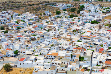 Aerial view of white rooftops of Lindos, Rhodes, Dodecanese, Greek Islands, Greece, Europe
