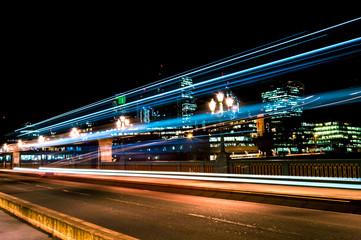Long exposure night light trails shot