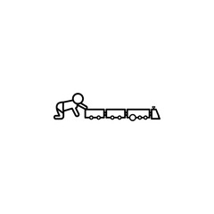child with a toy train icon. Element of baby and toys for mobile concept and web apps. Thin line  icon for website design and development, app development. Premium icon