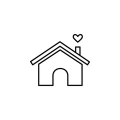 house with love icon. Element of family for mobile concept and web apps. Thin line  icon for website design and development, app development. Premium icon