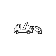 wrecker with a car icon. Element of Car sales and repair for mobile concept and web apps. Thin line  icon for website design and development, app development. Premium icon