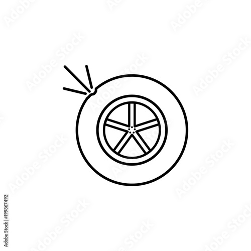 Car Punctured Wheel Icon Element Of Car Sales And Repair For Mobile