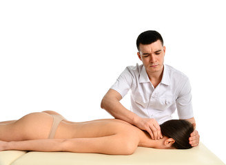 Therapist doctor doing healing physiotherapy treatment on woman neck massage. Alternative medicine, pain relief concept sport injury rehabilitation