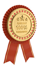 Red ribbon quality award isolated on white background. 3D illustration.