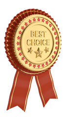 Red ribbon best choice award isolated on white background. 3D illustration.