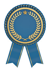 Blue ribbon award isolated on white background. 3D illustration.