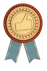 Blue ribbon and thumb up labeled isolated on white background. 3D illustration.