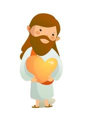 Close-up of Jesus Christ holding heart shape