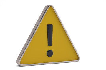 Yellow warning sign on a white background. 3D illustration.