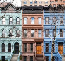 Spoed Fotobehang New York City Colorful historic buildings in Manhattan New York City