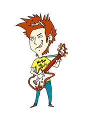 Close-up of boy holding guitar