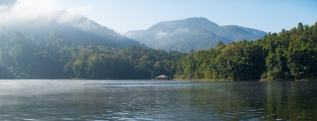 Panorama view of The lake in the morning, Mae Ngud Som Boon Chol dam, Chiangmai, Thailand.