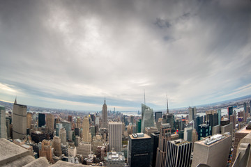 Wide Angle Fish Eye View of Downtown Manhattan Buildings