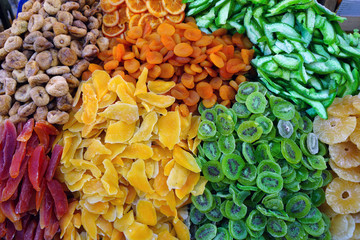 Colorful candied dried fruit in bulk at an Italian market